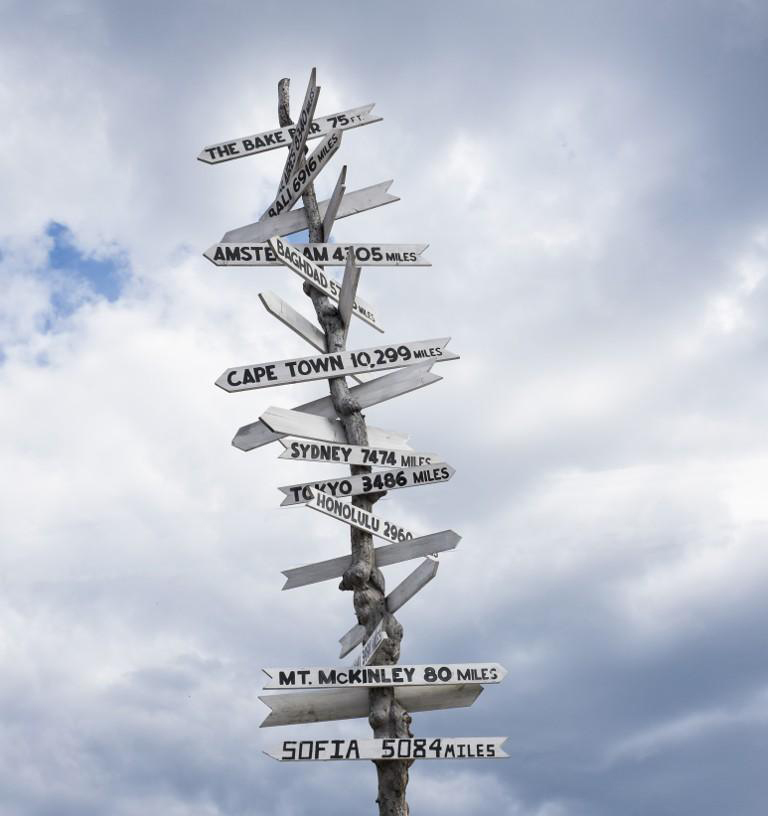 Low angle view of sign post against cloudy sky